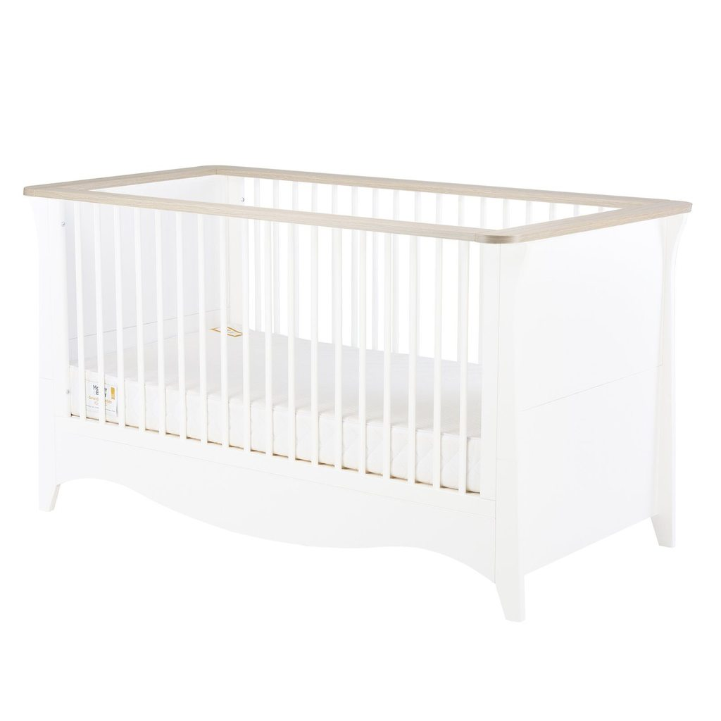 CuddleCo Clara Cot Bed - White/Driftwood Ash
