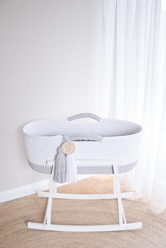 Crochet Moses Basket Two-tone - Soft Grey/White