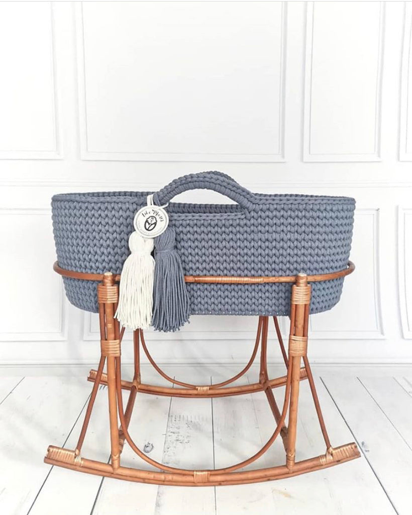 Crochet Moses Basket - Steel Grey - Beautiful Bambino