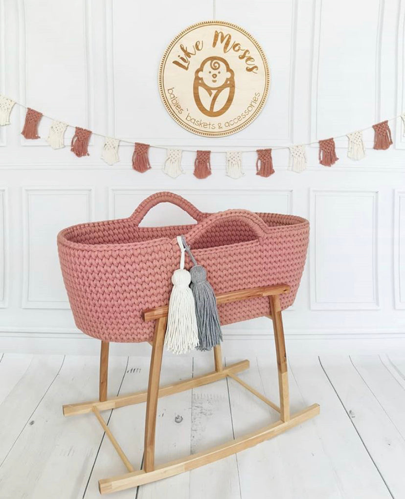 Crochet Moses Basket - Dusky Pink - Beautiful Bambino