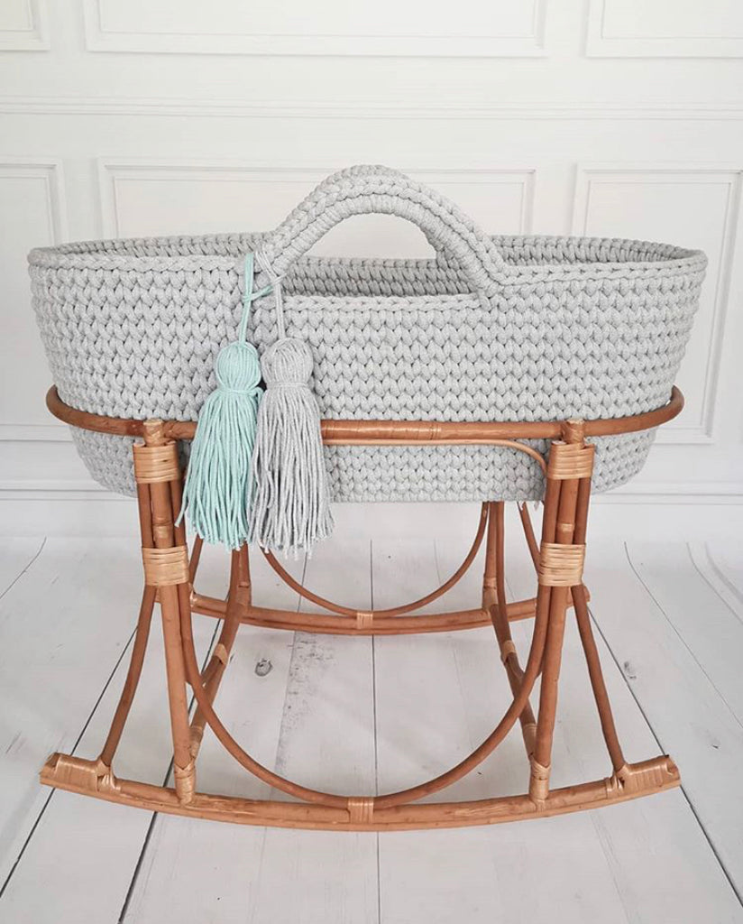 Crochet Moses Basket - Soft Grey - Beautiful Bambino