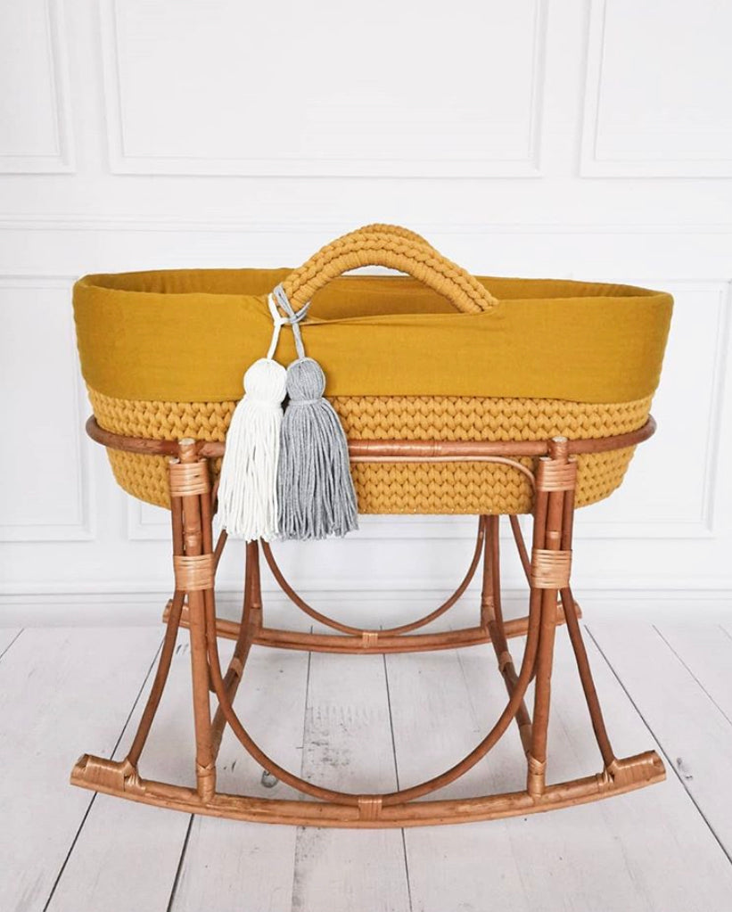 Crochet Moses Basket - Mustard - Beautiful Bambino