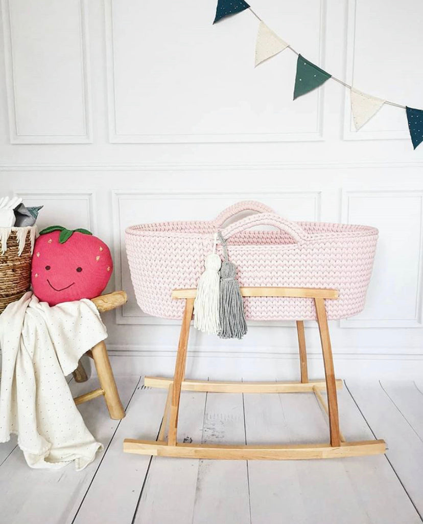 Crochet Moses Basket - Baby Pink