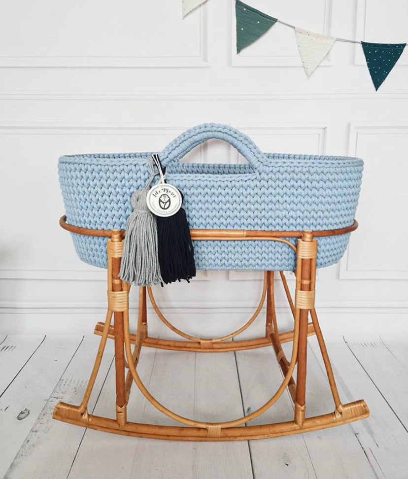 Crochet Moses Basket - Baby Blue