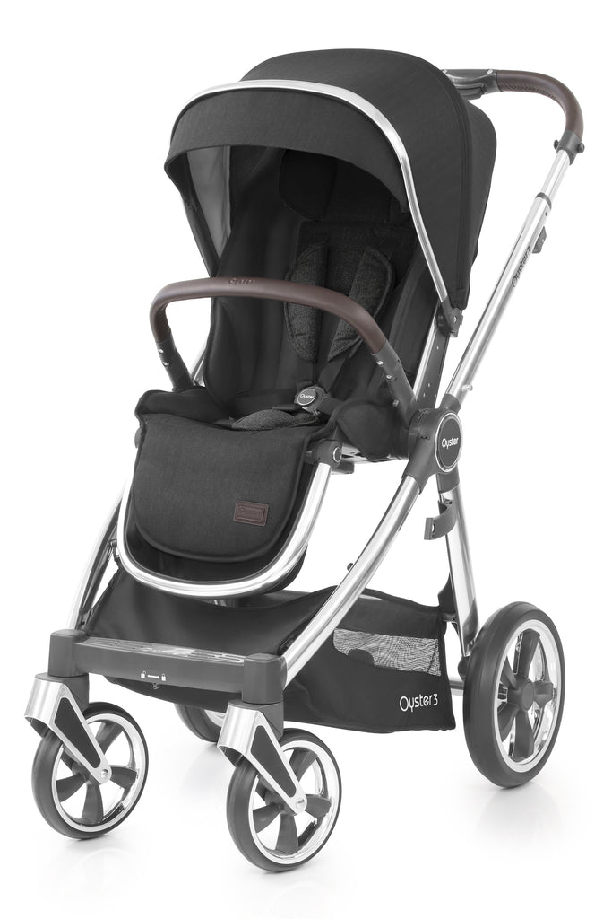 BabyStyle Oyster 3 Mirror Finish Stroller & Carrycot - Caviar - Beautiful Bambino
