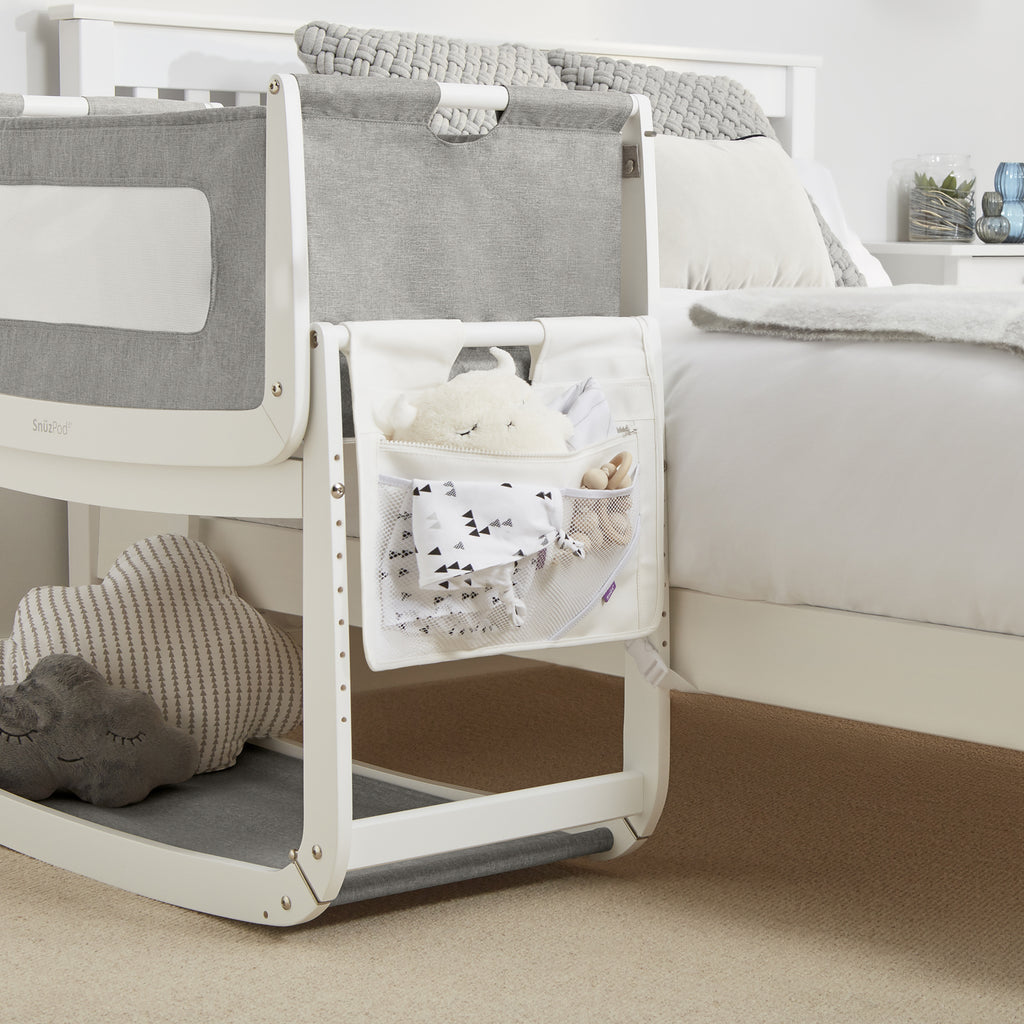 SnuzPod 3 Storage Pocket - White - Beautiful Bambino