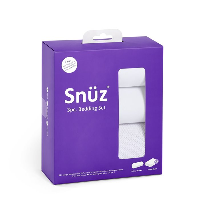 Snuz 3pc Crib Bedding Set - White - Beautiful Bambino