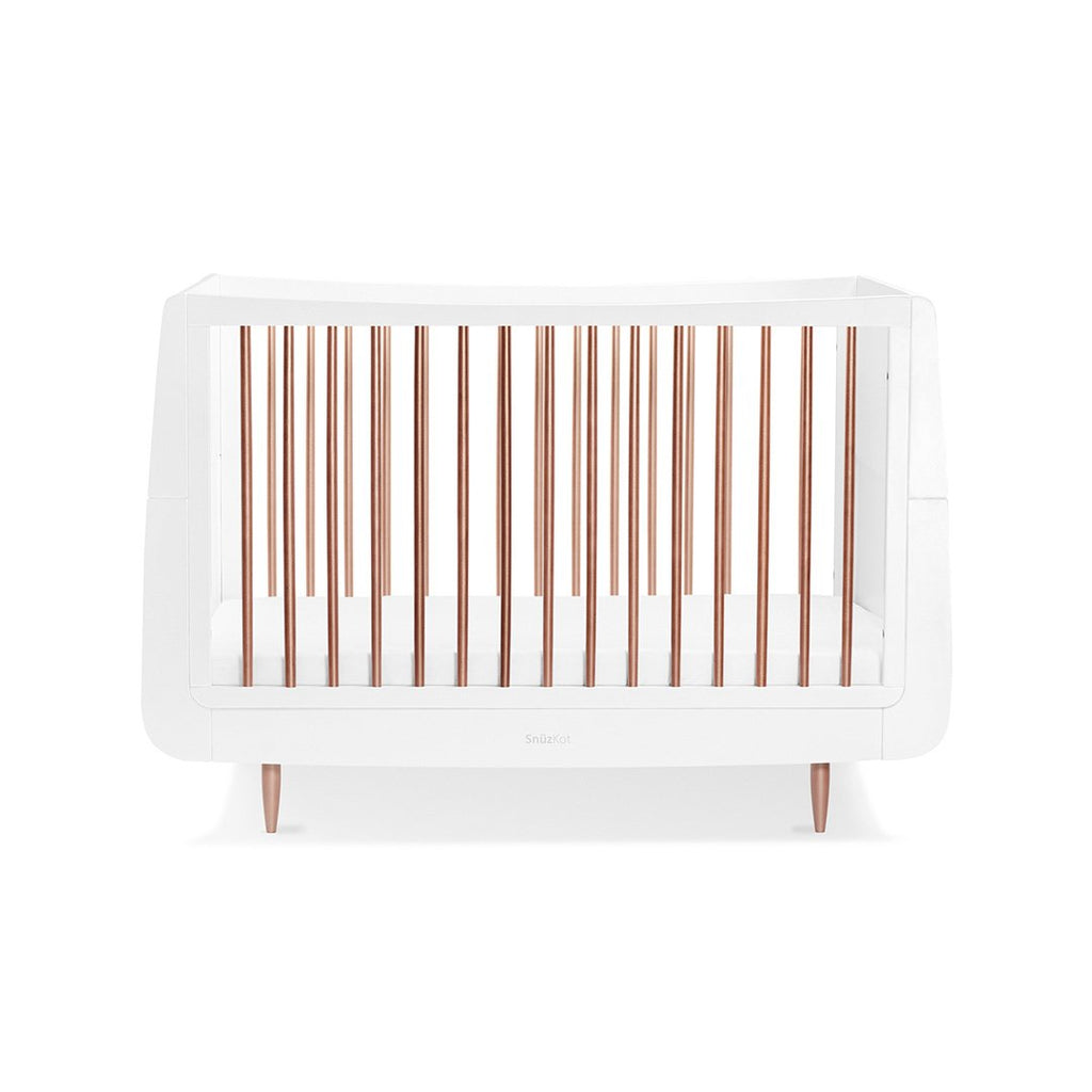Snüzkot Metallic Cotbed - Rose Gold On White - Beautiful Bambino