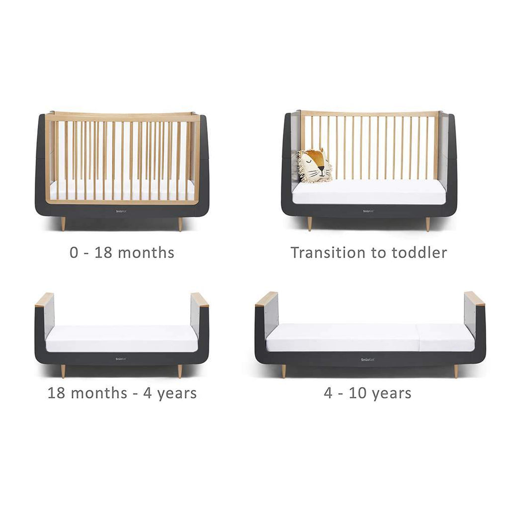 SnuzKot Skandi Cot Bed - Slate Natural - Beautiful Bambino