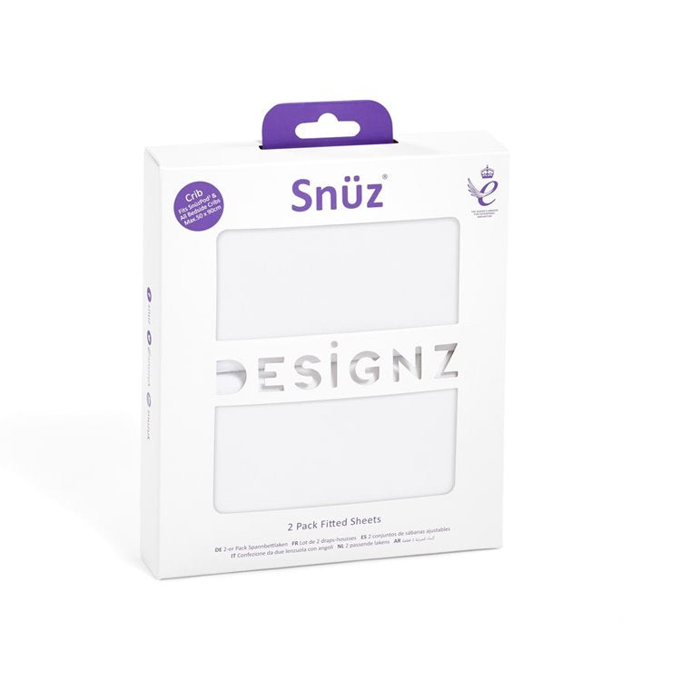 Snüz Crib 2 Pack Fitted Sheets - White