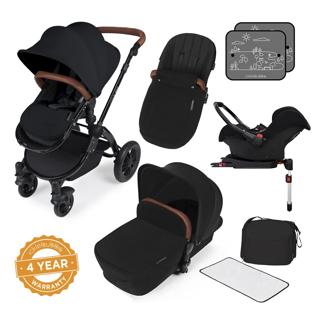 Ickle Bubba Stomp v3 All in One Pram With Isofix Base - Black/Black