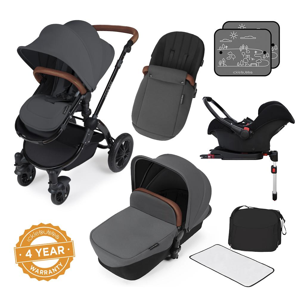Ickle Bubba Stomp v3 All in One Pram With Isofix Base - Black/Graphite Grey