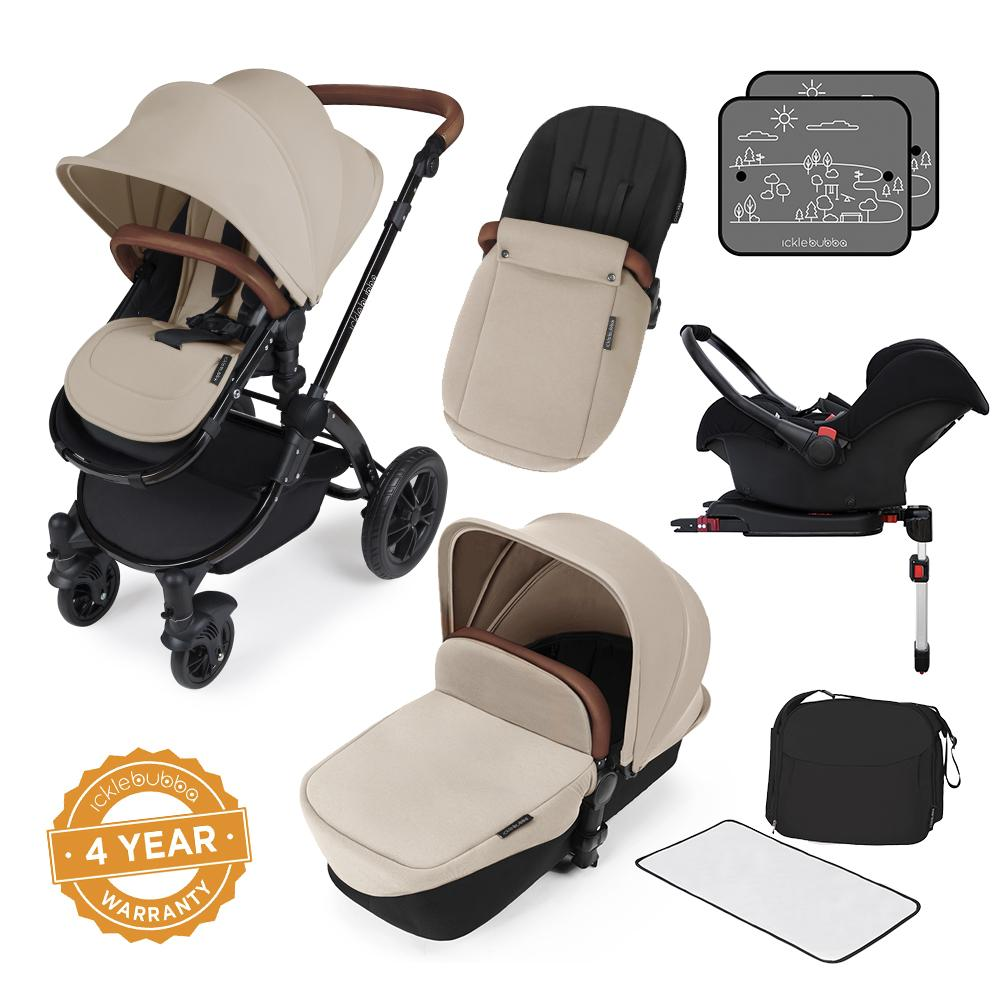Ickle Bubba Stomp v3 All in One Pram With Isofix Base - Black/Sand