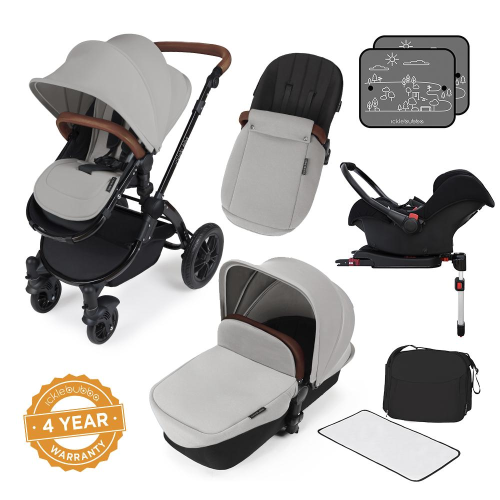 Ickle Bubba Stomp v3 All in One Pram With Isofix Base - Black/Silver
