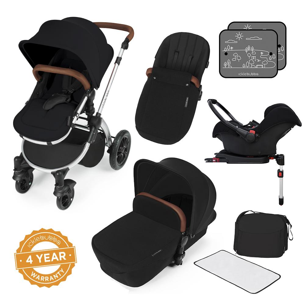 Ickle Bubba Stomp v3 All in One Pram With Isofix Base - Silver/Black