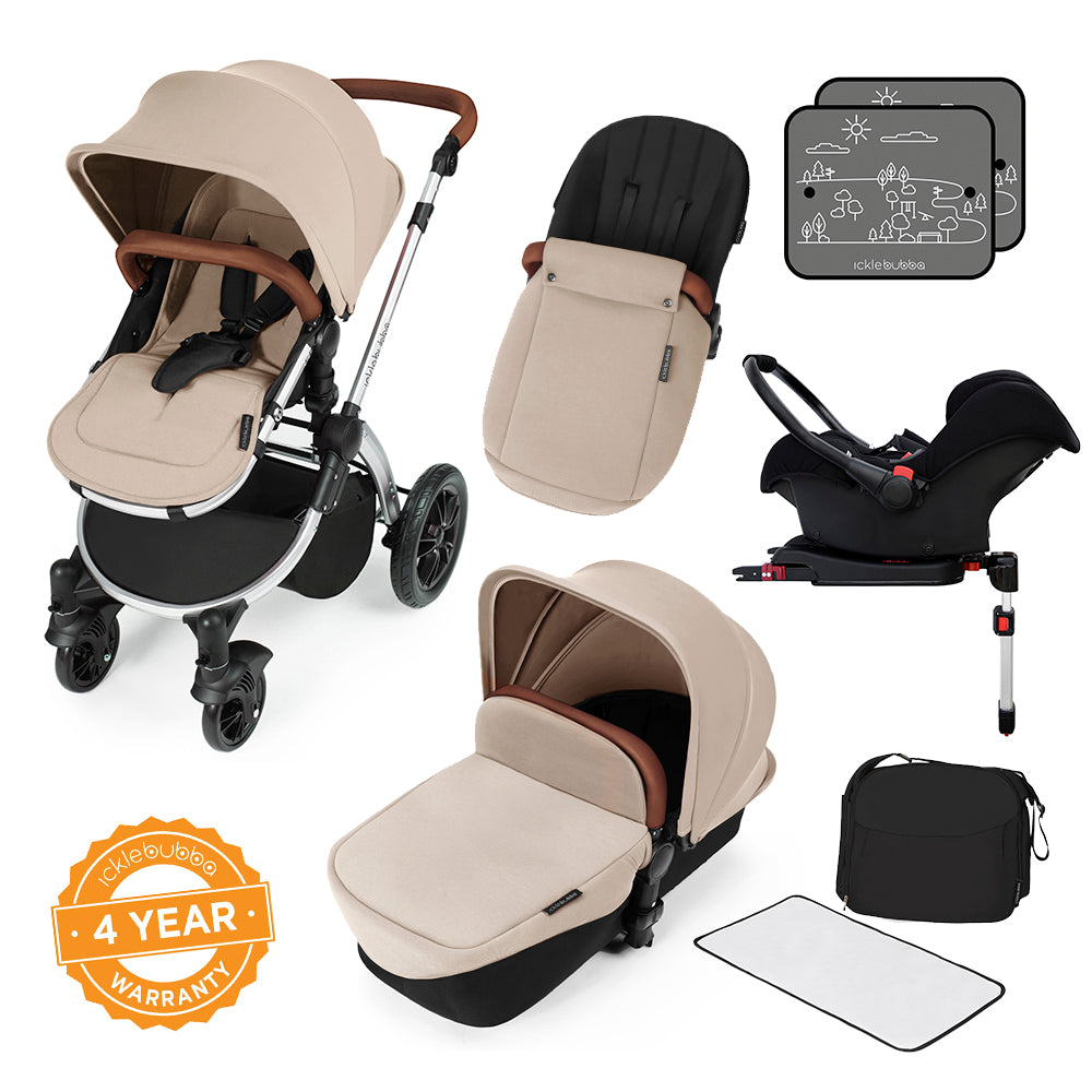 Ickle Bubba Stomp v3 All in One Pram With Isofix Base - Silver/Sand - Beautiful Bambino