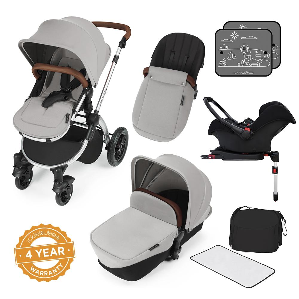 Ickle Bubba Stomp v3 All in One Pram With Isofix Base - Silver/Silver
