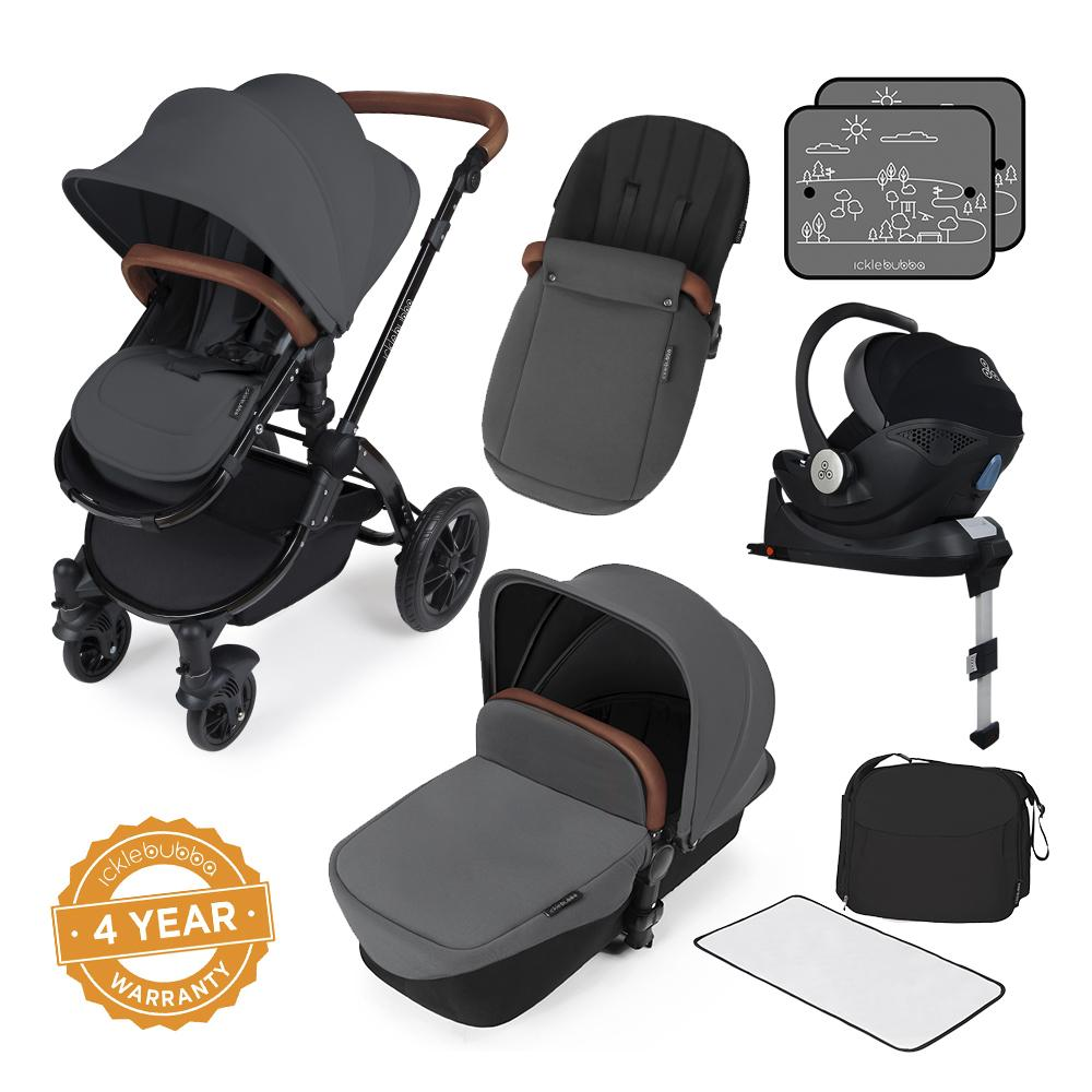 Ickle Bubba Stomp V3 i-Size All in One with Isofix Base - Black/Graphite Grey