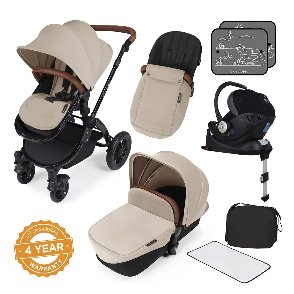 Ickle Bubba Stomp V3 i-Size All in One with Isofix Base - Black/Sand