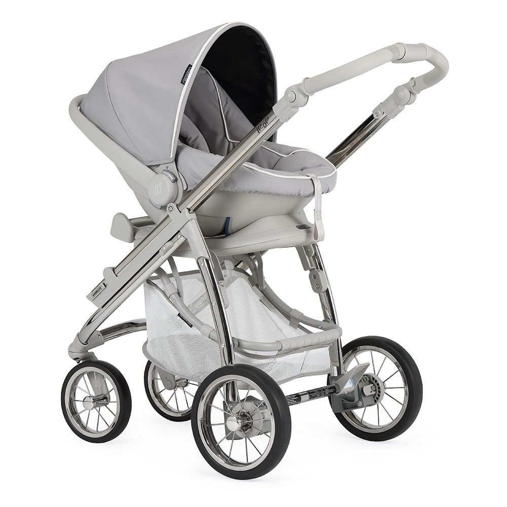 Bebecar Ip-Op XL Complete Travel System Pack & Raincover - Silver Grey