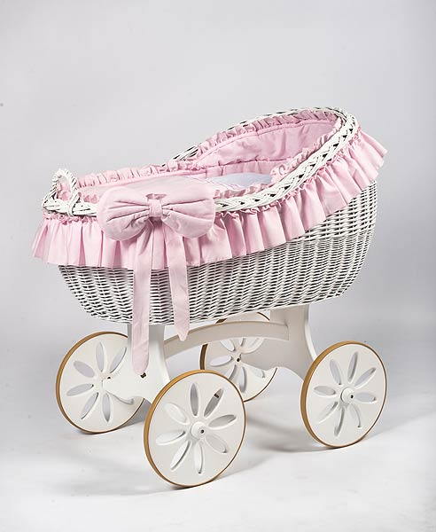 MJ Mark Bianca Due Crib With Spoke Wheels (White) - Beautiful Bambino