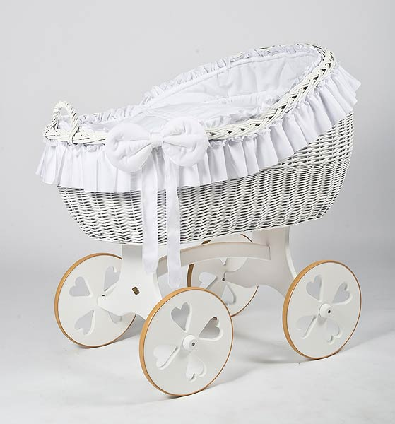 MJ Mark Bianca Due Crib With Heart Wheels (White) - Beautiful Bambino