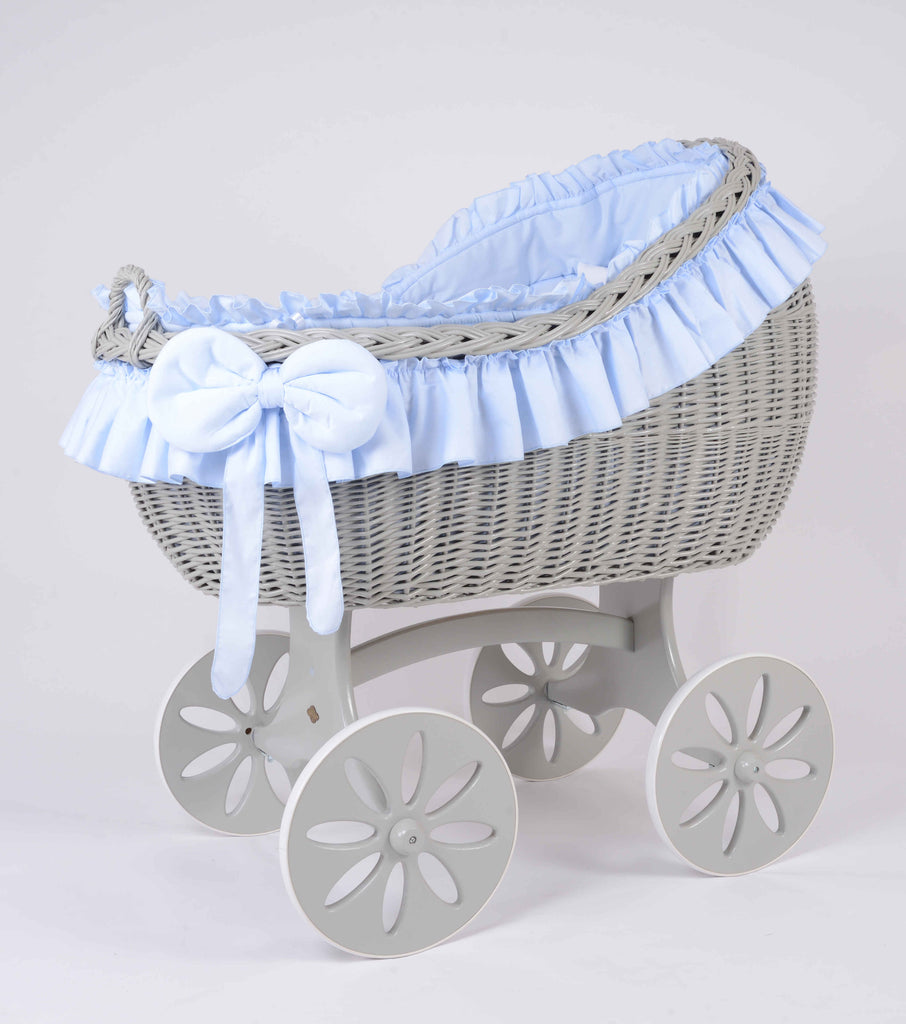 MJ Mark Bianca Quattro Crib With Spoke Wheels (Grey) - Beautiful Bambino