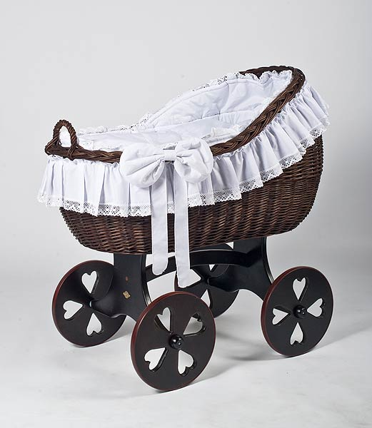 MJ Mark BIANCA TRE Crib With HEART WHEELS (Dark) - Beautiful Bambino