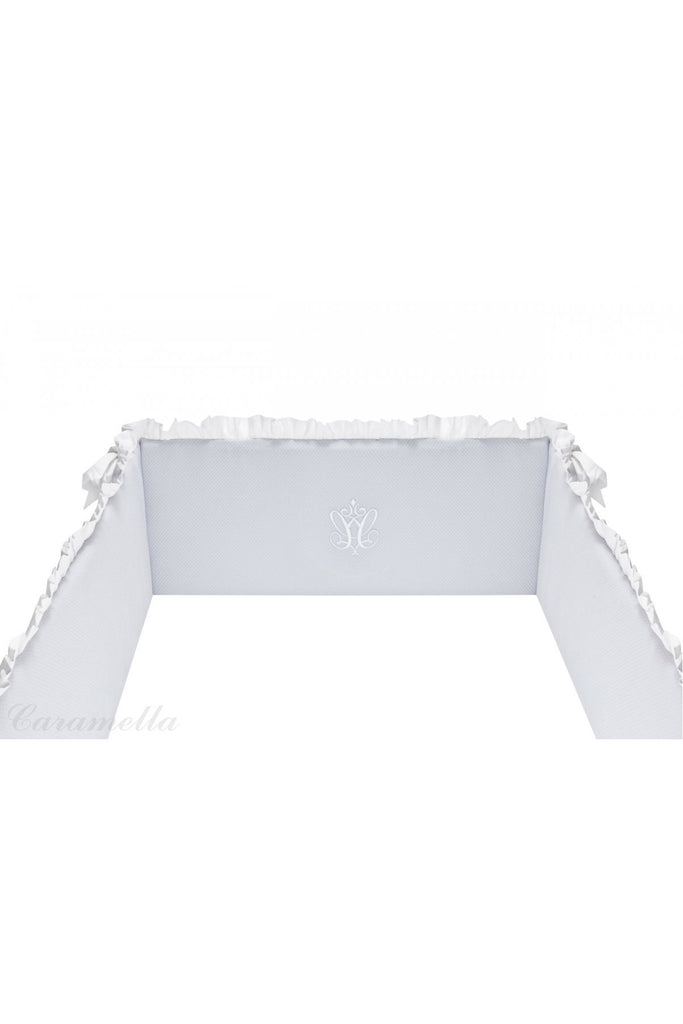 Caramella Pure Grey Baby Cot Bumper - Beautiful Bambino
