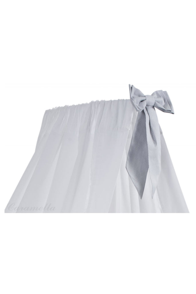 Carmella White Standing Canopy with Light Grey Bow - Beautiful Bambino