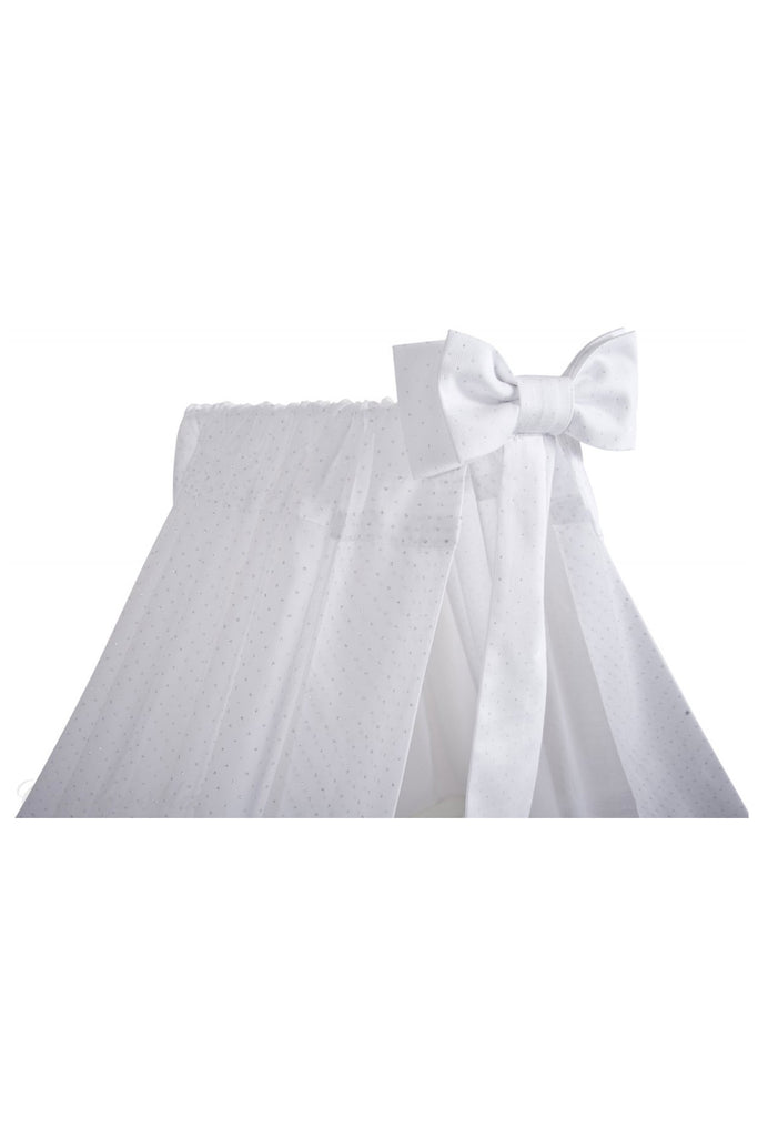 White Standing Canopy With Bow & Silver Dots - Beautiful Bambino