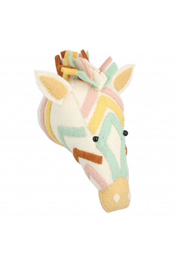 Fiona Walker Natural Pastel Zebra Mini Felt Animal Wall Head - Beautiful Bambino