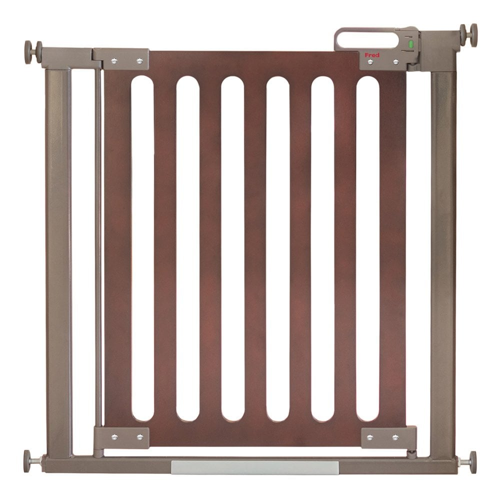 Fred Pressure Fit Wooden Stairgate - Dark Oak/Dark Grey
