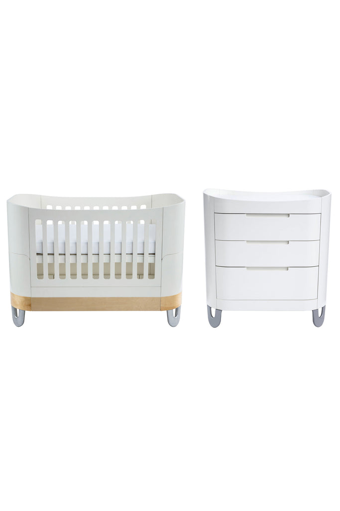 Gaia Serena Complete Sleep Baby Bed 2 Piece - White And Pine - Beautiful Bambino