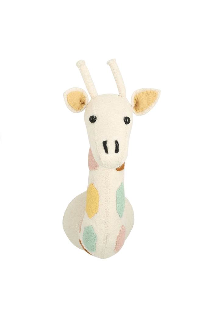 Fiona Walker Natural Pastel Giraffe Mini Felt Animal Wall Head - Beautiful Bambino
