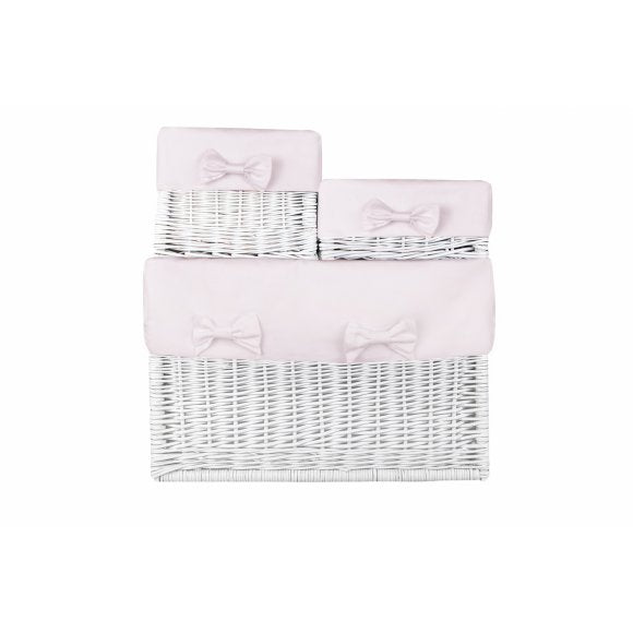 Caramella White Wicker Boxes with Baby Pink Liner - Beautiful Bambino