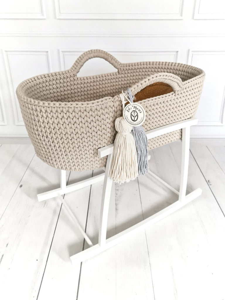 Crochet Moses Basket - Soft Beige - Beautiful Bambino