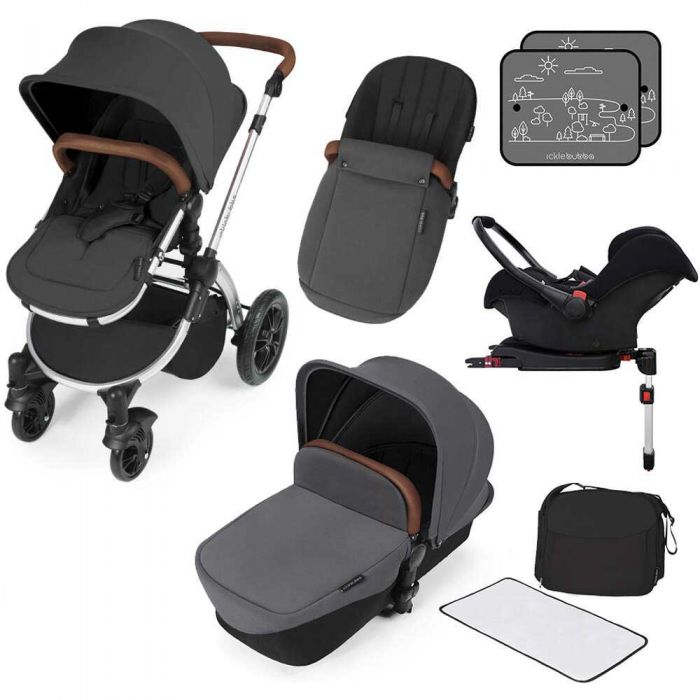 Ickle Bubba Stomp v3 All in One Pram With Isofix Base - Silver/Graphite Grey