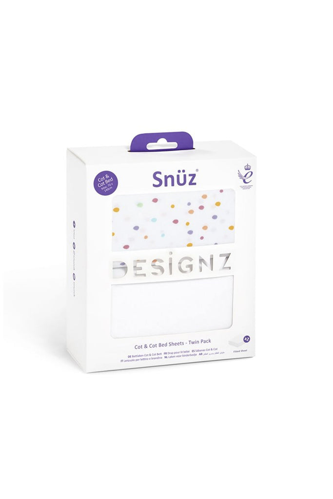 Snüz Cot & Cot Bed 2 Pack Fitted Sheet – Colour Spots - Beautiful Bambino