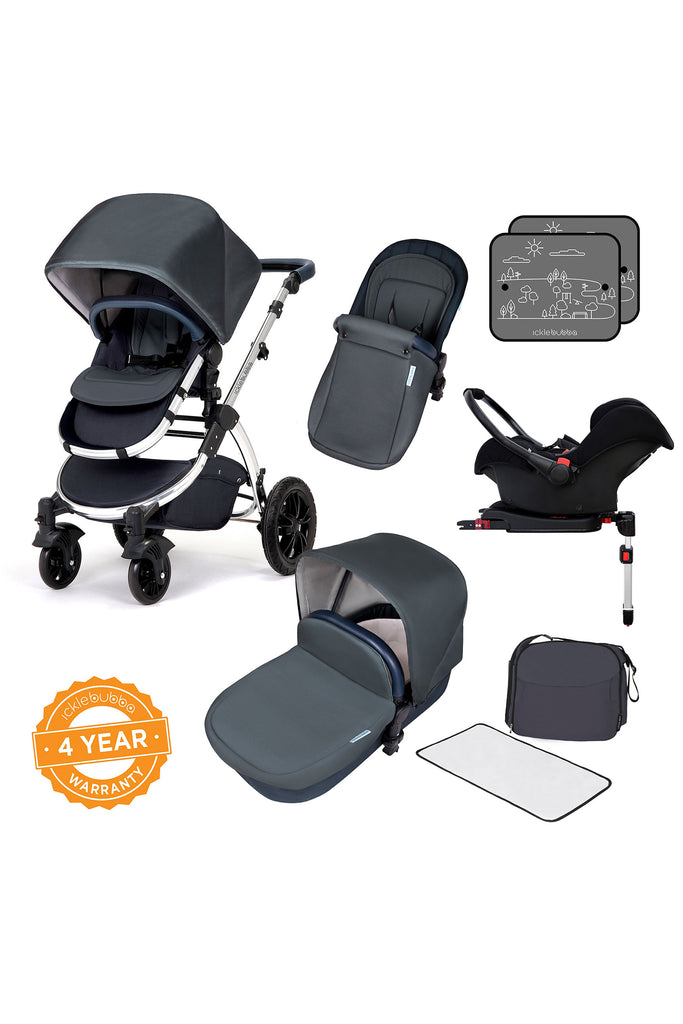 Ickle Bubba Stomp V4 All in One Travel System with Isofix Base - Blueberry Chrome - Beautiful Bambino