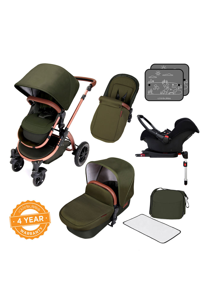 Ickle Bubba Stomp V4 All in One Travel System with Isofix Base - Woodland Bronze - Beautiful Bambino