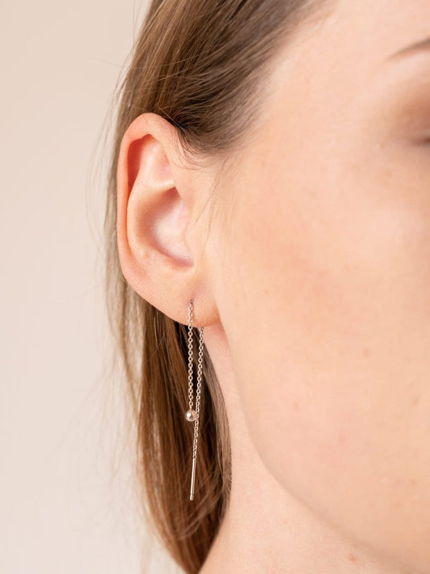 Ball & Chain Threader Earrings ethical & sustainable jewelry made from recycled sterling silver