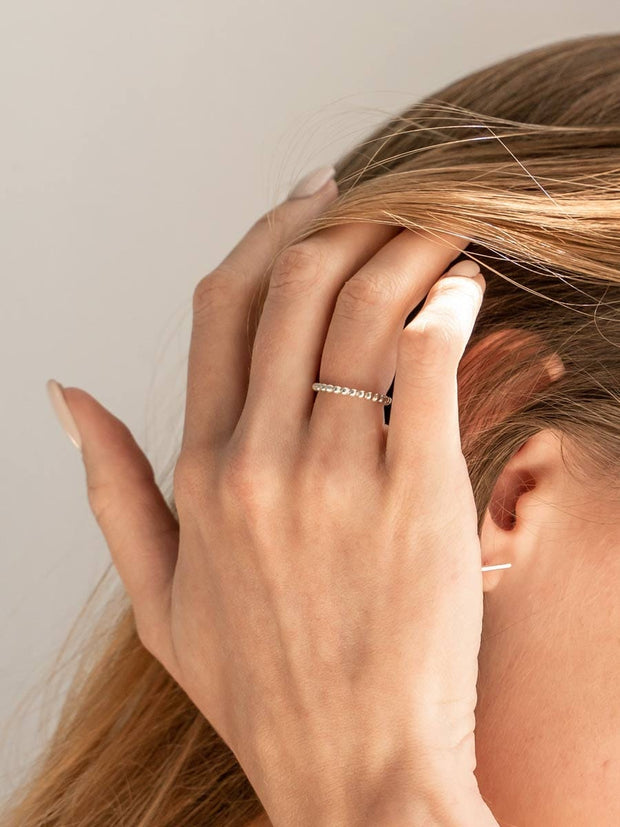 Beaded Band Ring ethical & sustainable jewelry made from recycled sterling silver