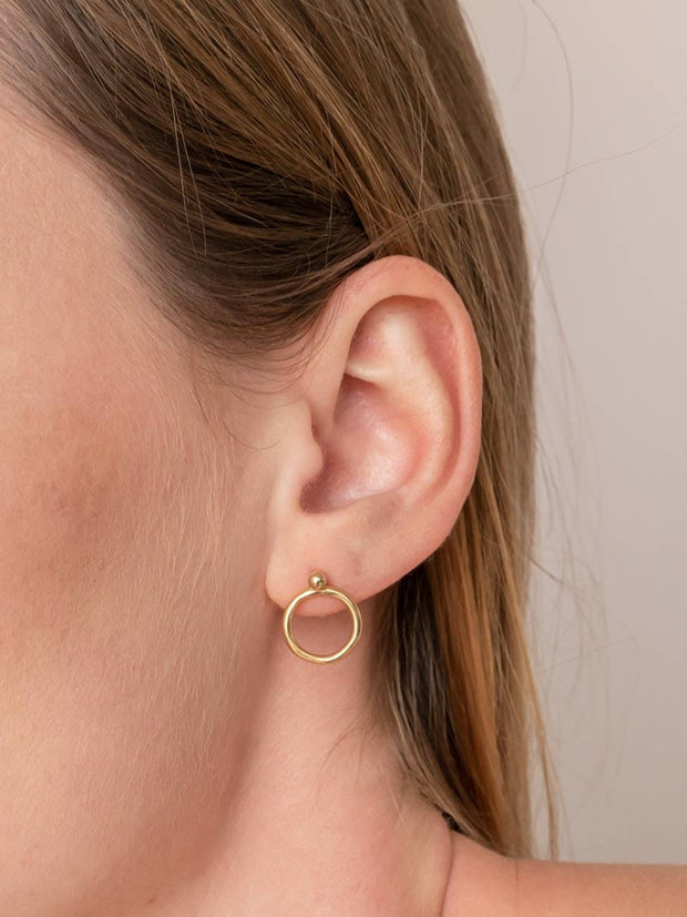 Halo Earring Jackets ethical & sustainable jewelry made from recycled 14k yellow gold