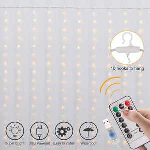 LED Curtain of String Lights with Remote