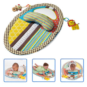 Tummy Time Activity Play Mat - Ergonomic Plush Pillow Baby Mirror Squishy Toys Changing Pad Height Measure Chart Unisex Colors