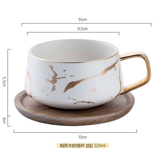 Nordic Style Marble Matte Gold Series Ceramic Tea Cup Coffee Mug with Wooden Tray Saucer Creative Gift Couple Cup 120-320ML