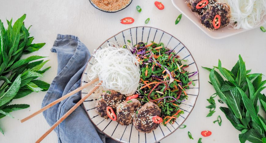 Ginger and Sesame Rissoles with Dressed Asian Slaw and Vermicelli Noodles