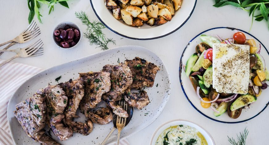 Greek Marinated Lamb Loin Chops with Spuds, Tzatziki and Greek Salad