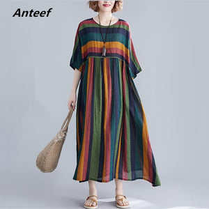 cotton plus size vintage stripe women casual loose long summer dress elegant clothes 2019 ladies dresses sundress